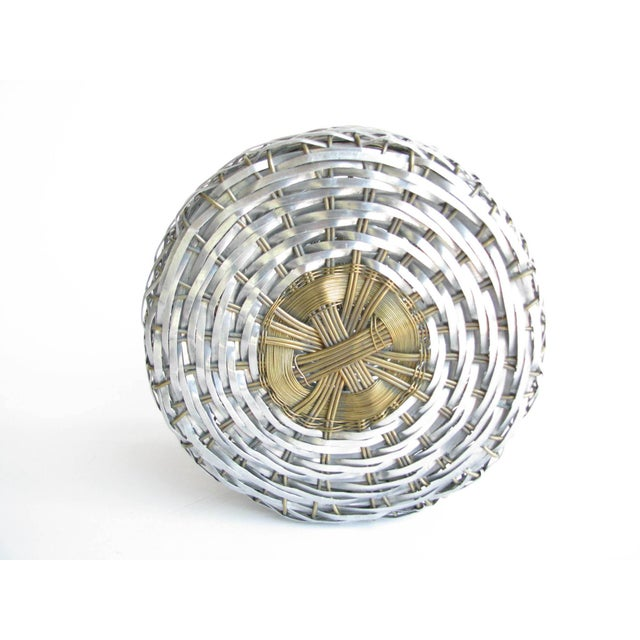 Vintage Woven Two-Tone Metal Wire Lidded Basket For Sale - Image 10 of 11
