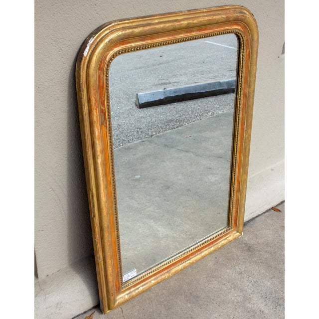 French Antique French Gilt Louis Philippe Mirror With Floral Details For Sale - Image 3 of 13