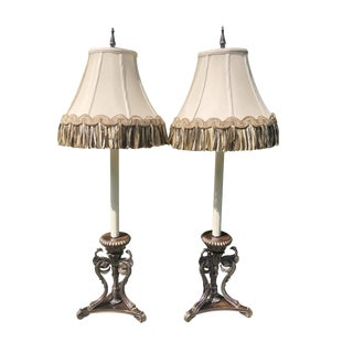Frederick Cooper Silvered Brass Griffon or Dragon Buffet Lamps With Fringe Shades For Sale