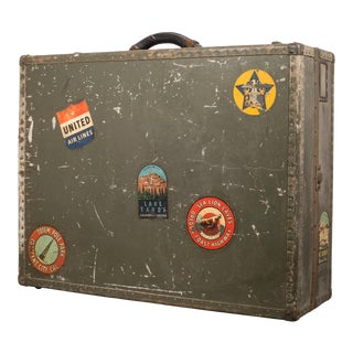 Vintage Suitcase With Original Travel Stickers C.1940 For Sale