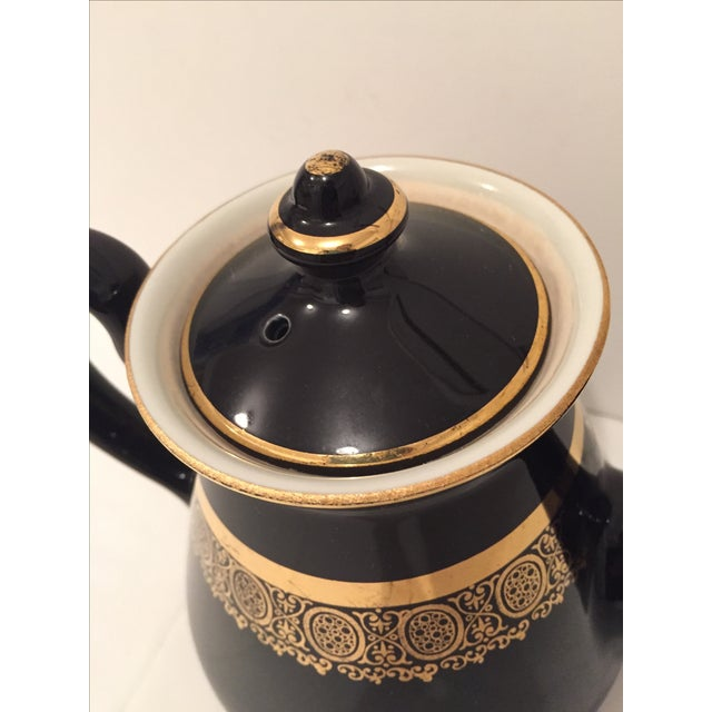 "Black and Gold Hollywood Regency ""Hall Usa"" Teapot - Image 7 of 9"