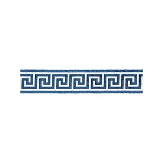 Scalamandre Greek Key Velvet Tape, Indigo For Sale