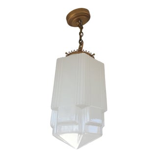 Art Deco Skyscraper Cathedral Glass & Gold Accent Pendant Light For Sale
