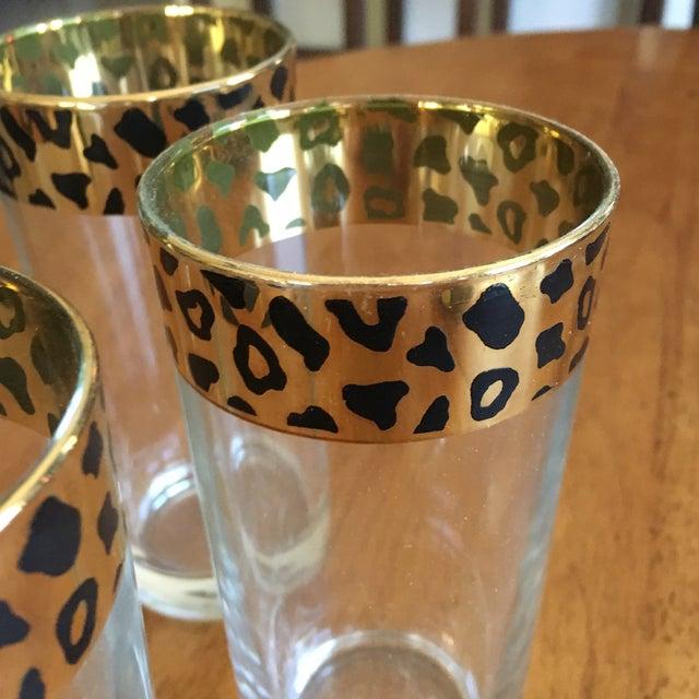 Italian Black & Gold Cheetah Print Glasses - Set of 4 - Image 4 of 10