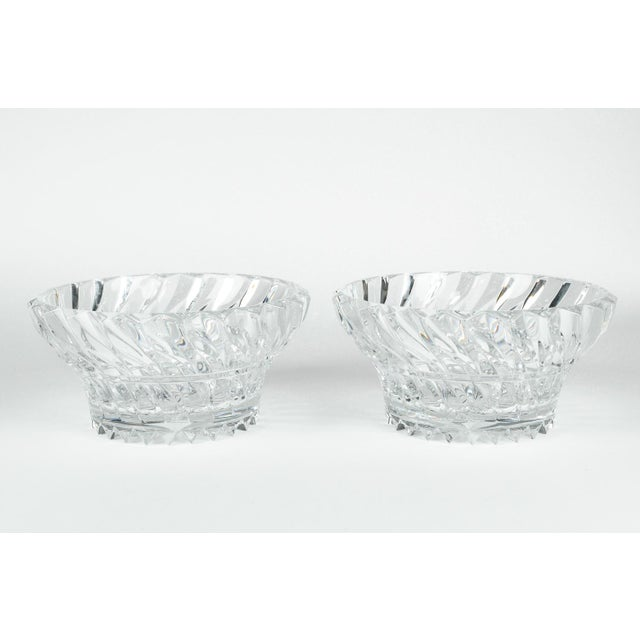 Crystal Vintage Pair Heavy Cut Crystal Bowl For Sale - Image 7 of 11