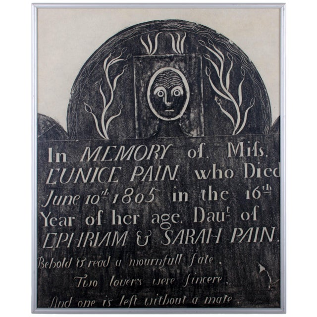 Offered are three vintage framed early American granite marker rubbings from Vermont gravestones and an abduction stone...