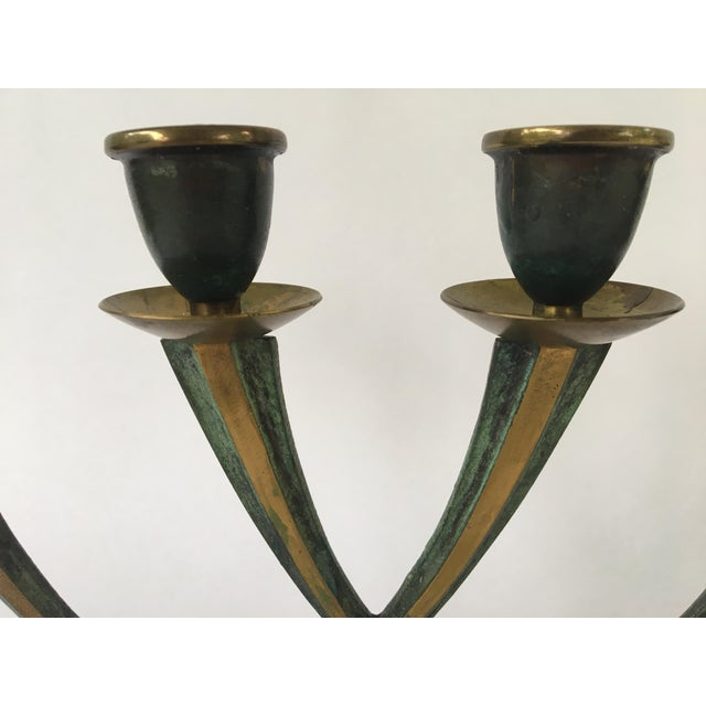 Vintage Israeli Brass Candelabra For Sale In Austin - Image 6 of 8