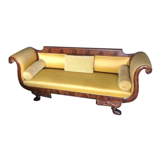 Yellow Silk Empire Settee For Sale