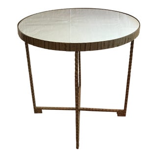 Gold Round Metal Side Table With Mirror Top