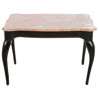 19th C. Danish Black Table With Marble Top For Sale