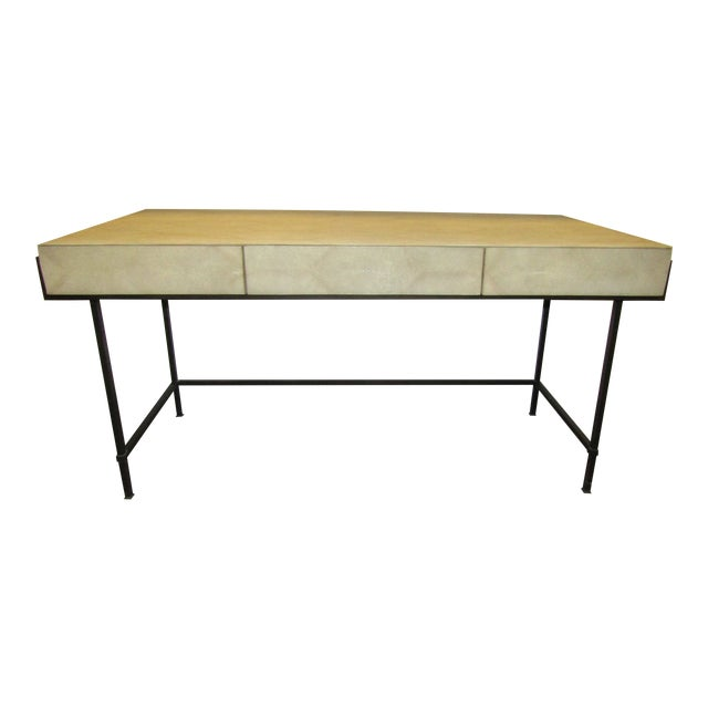 Contemporary Lillian August Simone Shagreen and Metal Desk For Sale