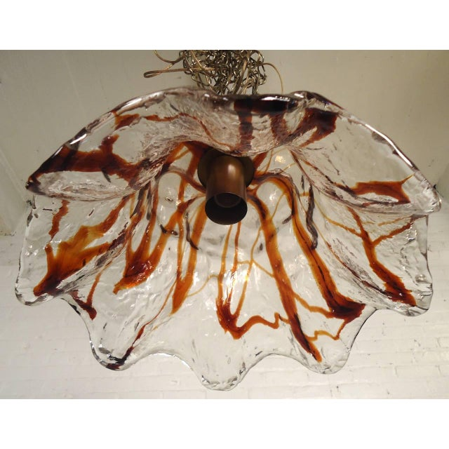 Italian Sculpted Blown Glass Petal Lamp by Mazzega For Sale - Image 3 of 8