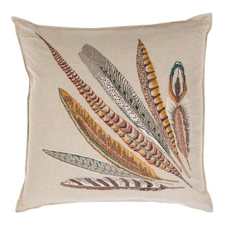 Contemporary Linen Pheasant Feather Left Pillow