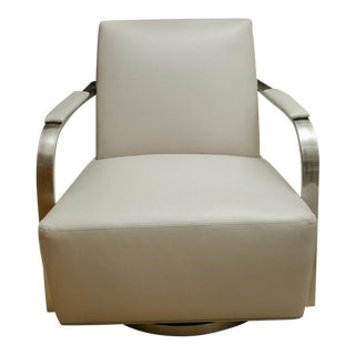 Thayer Coggin Swivel Stainless Steel Armchair For Sale