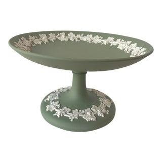 Wedgwood Green Jasperware Pedestal Candy Dish