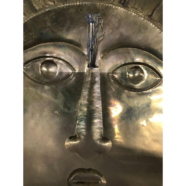 Gold Sergio Bustamante-Style Brass and Copper Sun Wall Sculpture, 1970s For Sale - Image 8 of 9