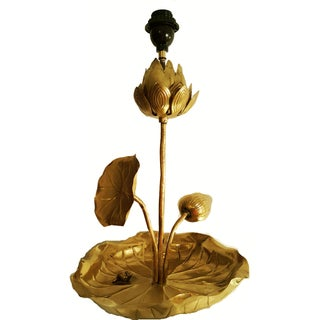 Vintage French Lotus Table Lamp For Sale