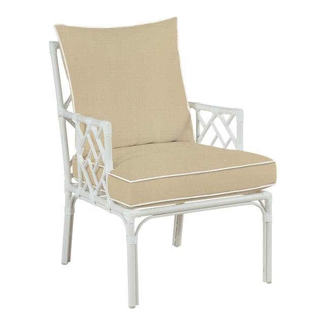 Haven Outdoor Occasional Arm Chair, Antique Beige and White For Sale