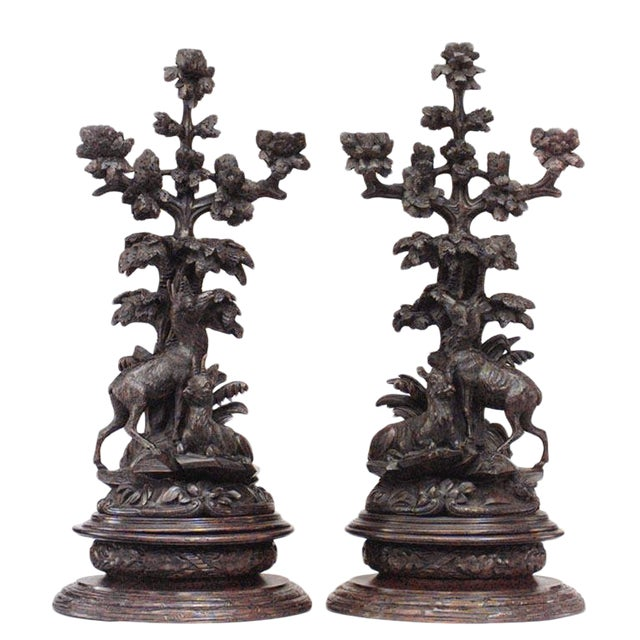 Pair of Rustic Black Forest, 19th Century Carved Walnut Three-Arm Candelabra For Sale