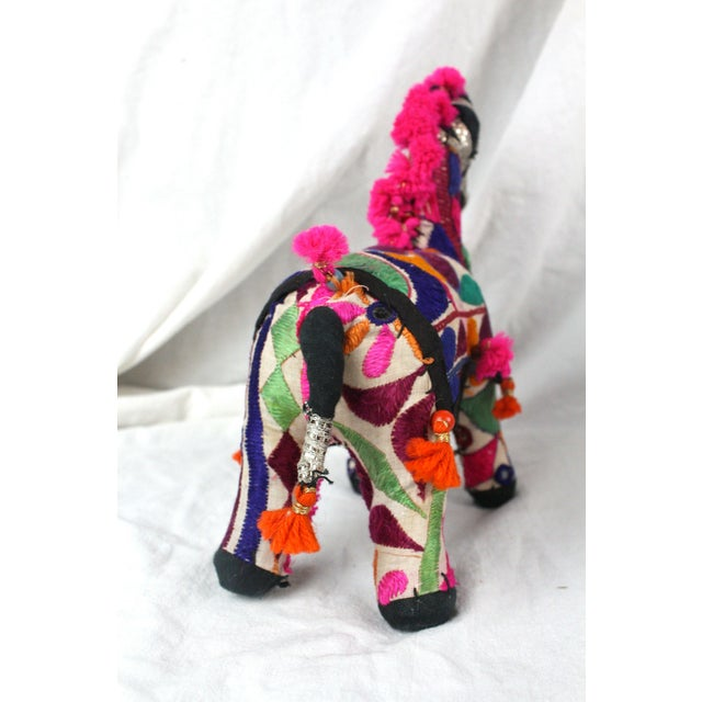 Boho Chic 1950s Boho Chic Pink Embroidered Accent Rajasthani Horse For Sale - Image 3 of 5