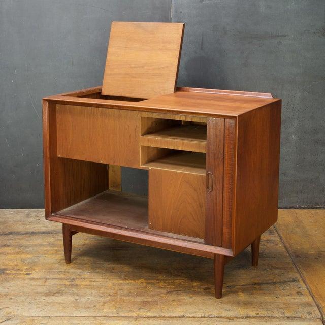 Sibast Furniture Arne Vodder Hifi Cabinet Teak Tambour Petite Stereo Credenza Danish Midcentury For Sale - Image 4 of 10