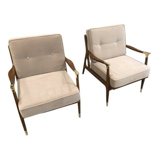 Modern Anthropologie Grey Velvet Haverhill Chairs- A Pair For Sale