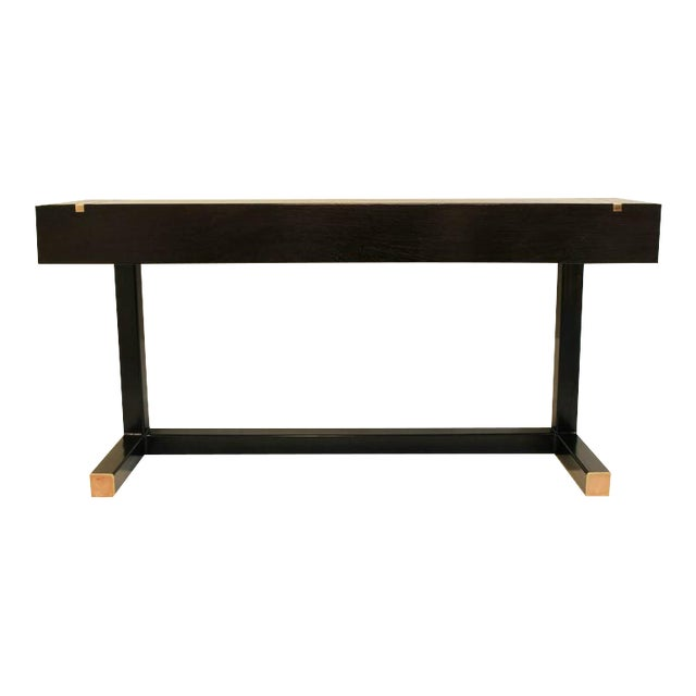 Contemporary Console Table, Using a J. Wabbes 1960's Wenge End-Grain Wood Top For Sale