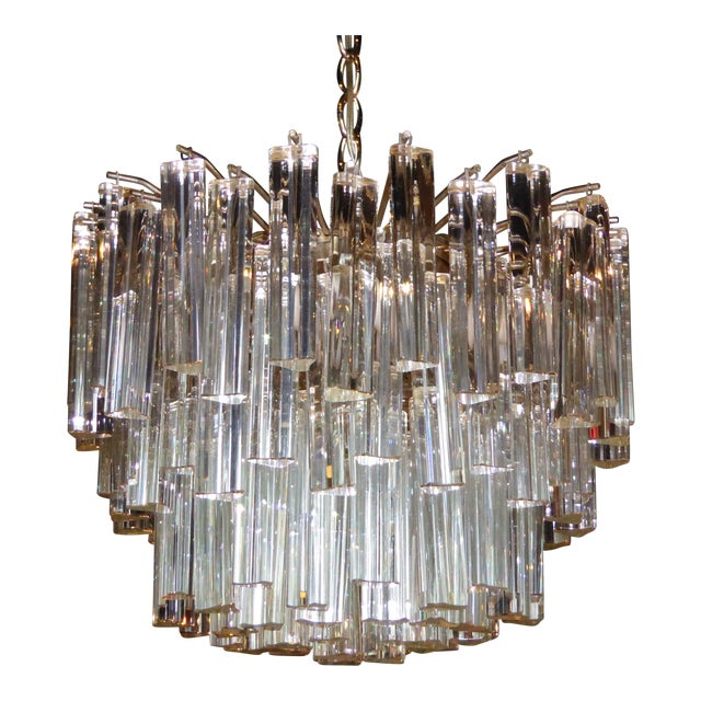 Hollywood Regency 1960s Mid-Century Modern Lush Camer Glass Chandelier For Sale - Image 3 of 11