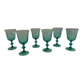 Vintage French Luminarc Stemware in Green - Set of 6 For Sale