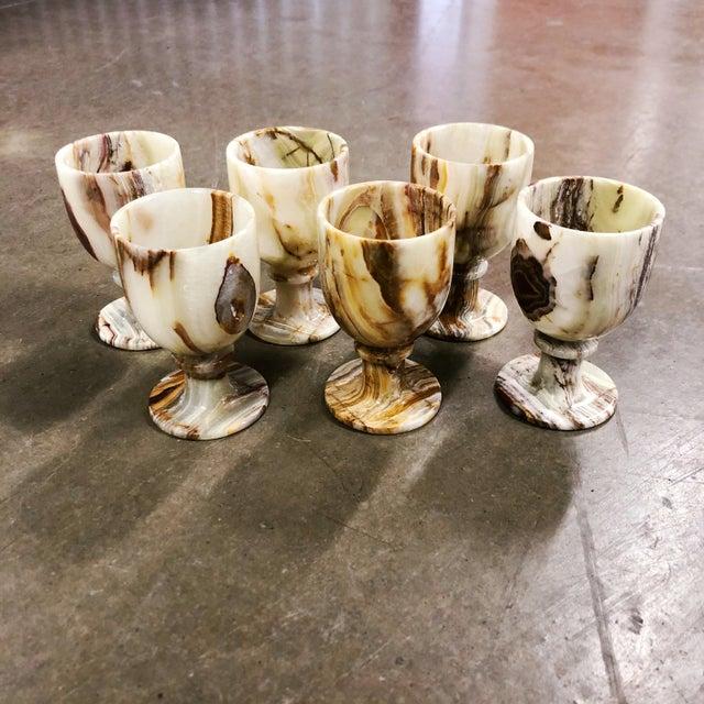 Black Carved Onyx Goblets, Set of 6 For Sale - Image 8 of 8