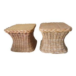 Rattan Side Tables - a Pair