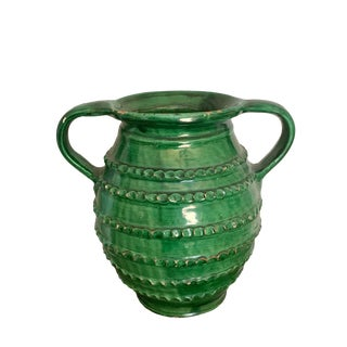 1930s Vintage European Green Pottery Vase For Sale
