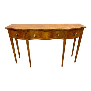 Custom Tiger Maple Console Table Server For Sale