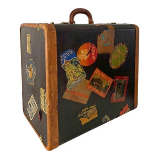 Antique 1930s Classic Square Suitcase With Original Travel Stamps For Sale