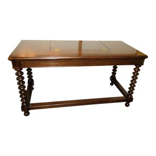 Traditional Hickory White Flip Top Desk With Oversize Turned Legs For Sale
