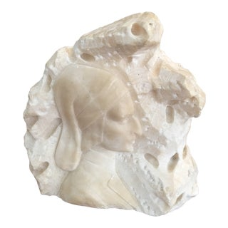 "Antique Grand Tour Era ""Dante Aligheri"" Alabaster Sculpture For Sale"