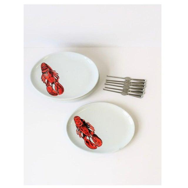 Vintage Designer Italian Lobster Plates With Forks From Sweden - Set of 6 For Sale In New York - Image 6 of 13