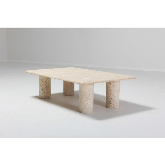 Travertine marble rectangular coffee table designed by Angelo Mangiarotti for Up & Up, Italy. Postmodern piece that's...