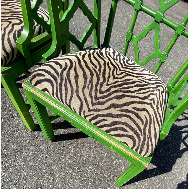 Bright Green Vintage Hollywood Regency Green Pagoda Chairs with Zebra Fabric - a Pair For Sale - Image 8 of 13