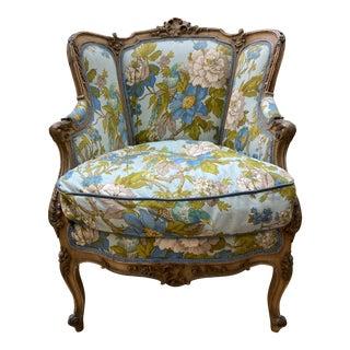 1880s Upholstered Louis XV Bergere Chair For Sale