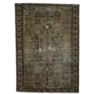 Vintage Mid-Century Hand-Knotted Wool Persian Baktiari Rug - 3′6″ × 4′ For Sale
