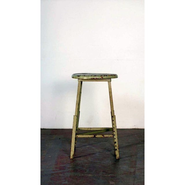 Pair of Industrial Adjustable Bar Stools For Sale In Los Angeles - Image 6 of 6