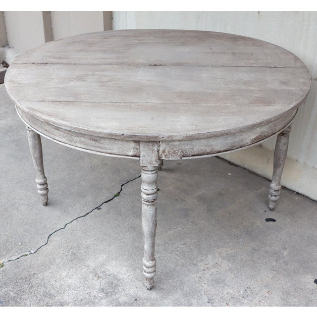 French Country Late 19th Century Antique French Demi-Lune Console For Sale - Image 3 of 13