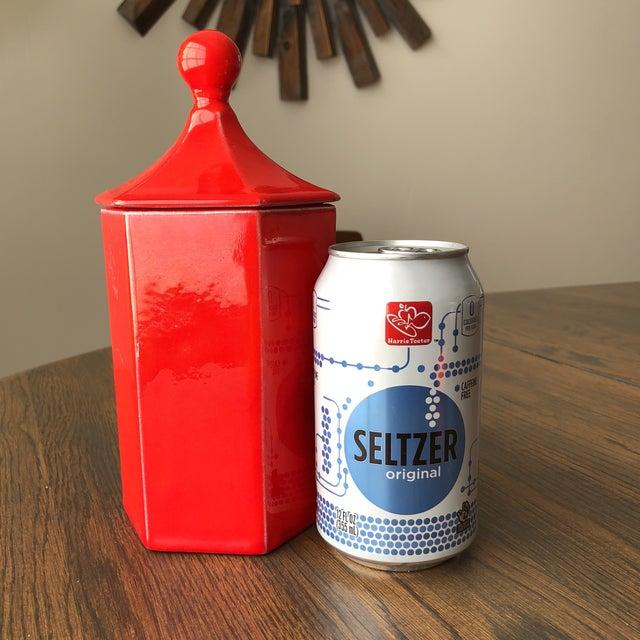 Vintage Red Ceramic Canister - Image 7 of 8