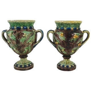 1880s Victorian Majolica Palissy Vases - a Pair For Sale