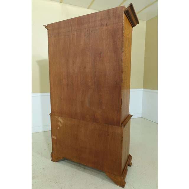 Benchmade Tiger Maple Linen Press Armoire Cabinet For Sale - Image 10 of 13
