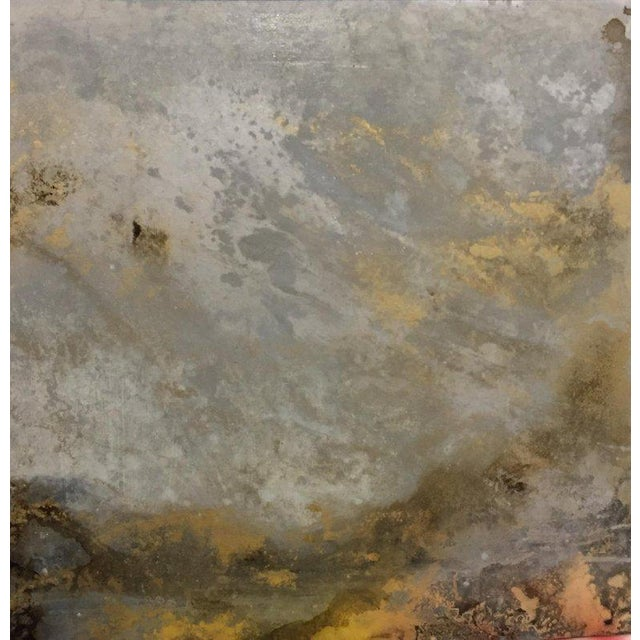 "Abstract Michelle Gagliano ""Mackeral Sky 2"" Cloudscape Oil Glazes Painting on Wood Panel For Sale - Image 3 of 5"