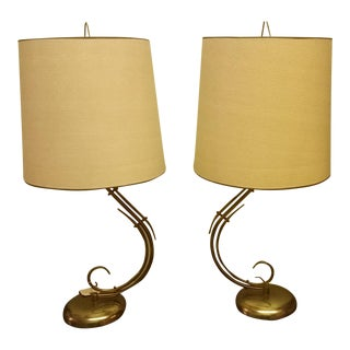 Brass Hollywood Regency Lamps - A Pair For Sale