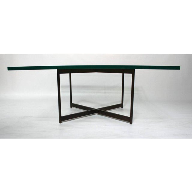 Mid-Century Bronze & Glass X-Base Coffee Table For Sale - Image 4 of 10