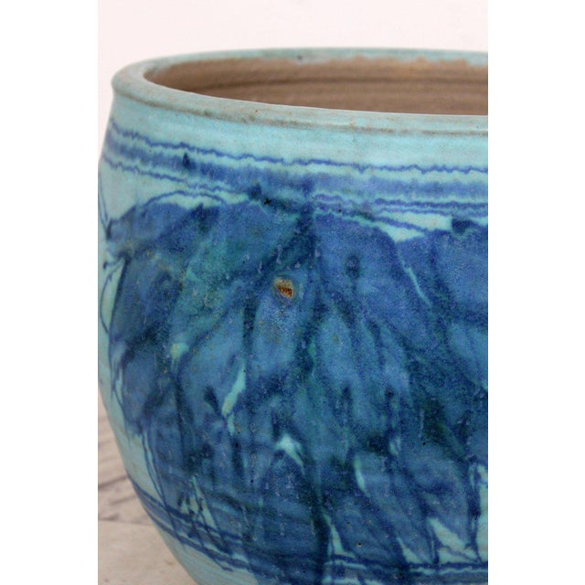 Mid-Century Modern Blue Glazed Ceramic Pot Signed j.t Abernathy, 1960s For Sale - Image 4 of 8